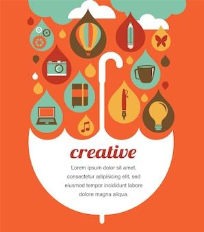 Kreativer regenschirm - ideen- und designkonzeptillustration