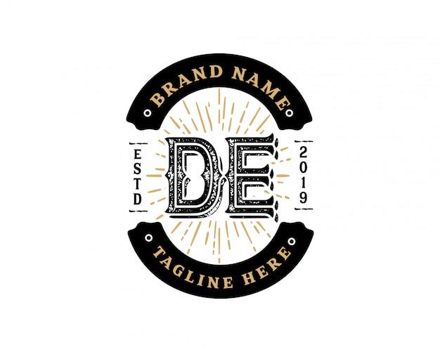 Kreativer retro- weinlesehippie des anfangsbuchstaben de und schmutzvektor-logo entwerfen