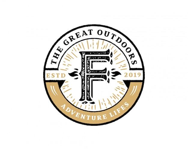 Kreativer retro- weinlesehippie des anfangsbuchstaben f und schmutzvektor-logo entwerfen