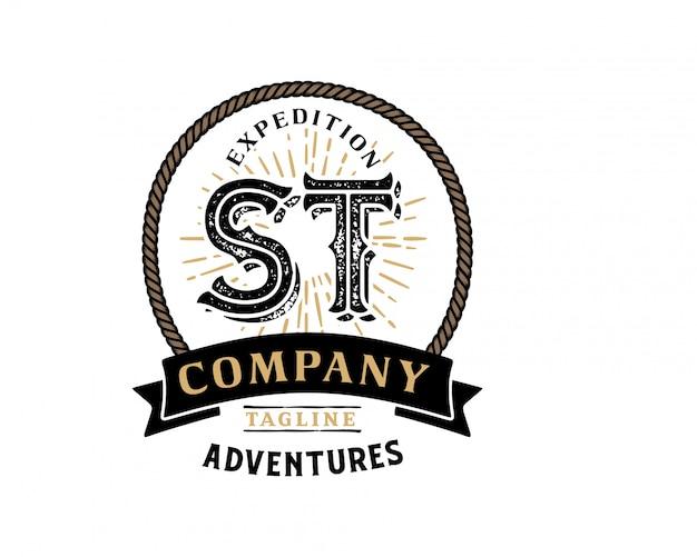 Kreativer retro- weinlesehippie des anfangsbuchstaben st und schmutzvektor-logo entwerfen