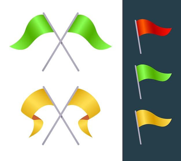 Kreativer satz der illustration der variation der flagge auf weißem und schwarzem hintergrund