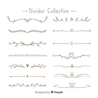 Kreativer satz hand gezeichnete verzierungsteiler