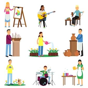 Kreativer satz von erwachsenen menschen und ihren hobbys. kochen, malen, gitarre und bass spielen, sticken, stricken, nähen, skulptieren. eben