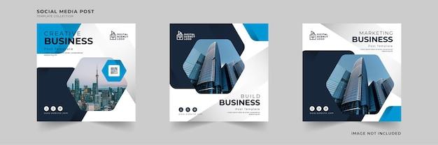 Kreativer startup-business-social-media-beitrag mit geometrischer rahmensammlung