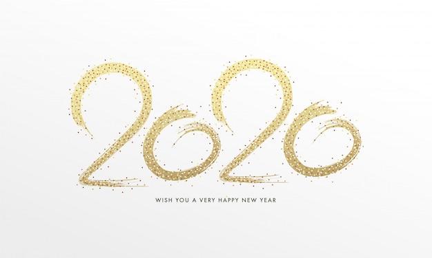 Kreativer text 2020 geschrieben durch goldenen funkelnden pinsel auf weißen hintergrund.
