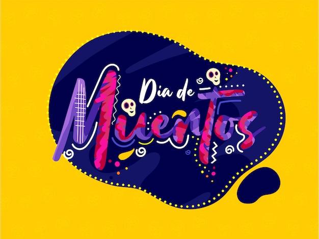 Kreativer text von dia de muertos mit den schädeln auf abstrakter fahne oder plakat.