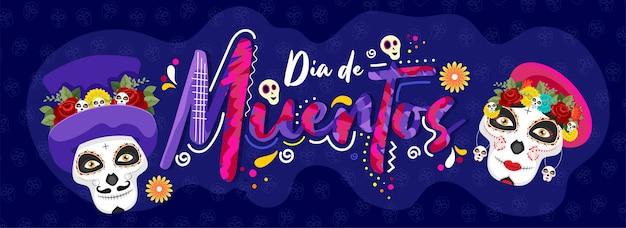 Kreativer text von dia de muertos mit den zuckerschädeln auf blauem schädelmuster für tag der toten. header oder banner.