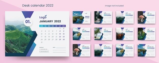 Kreativer tischkalender 2022 mit blauen akzenten premium-vektor