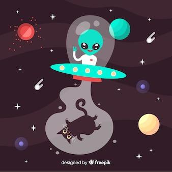 Kreativer ufo-hintergrund