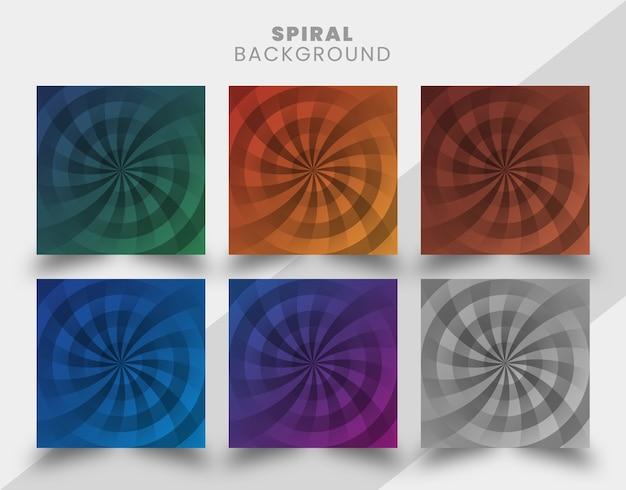 Kreativer und eleganter formspiralhintergrundentwurfssatz mit verlaufsfarbe