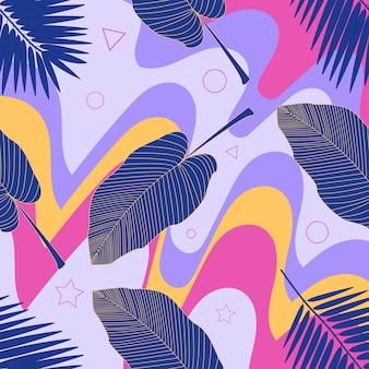 Kreativer universeller blumentitel im tropischen stil.