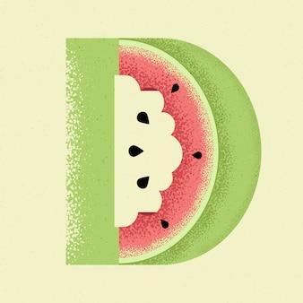 Kreativer wassermelonenbuchstabe d