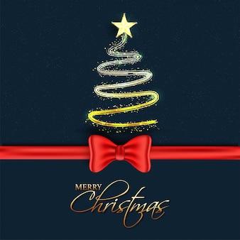 Kreativer weihnachtsbaum gemacht durch funkelnlichteffekt mit rotem bogenband auf blau für feier der frohen weihnachten.