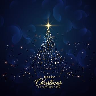 Kreativer weihnachtsbaum gemacht mit funkelnhintergrund