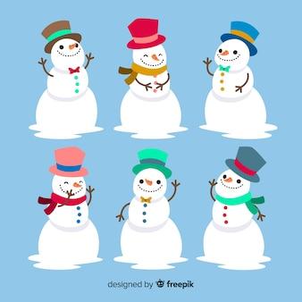 Kreativer weihnachtsschneemannsatz