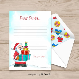 Kreativer weihnachtsumschlag und -buchstabe im aquarelldesign