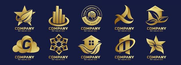 Kreatives abstraktes goldlogo des bündels für firma