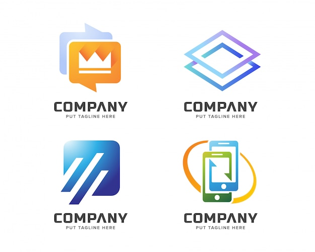 Kreatives abstraktes logo eingestellt für geschäft