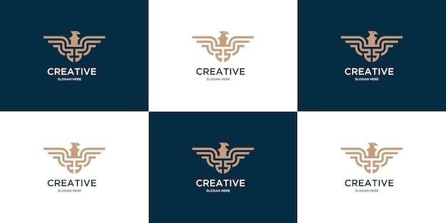 Kreatives adlerset mit minimalem linienlogo