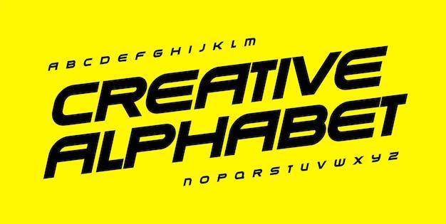 Kreatives alphabet für automobilsport-fitnessstudio und fitness-geometrische schriftart mit breiter fetter kursivschrift für