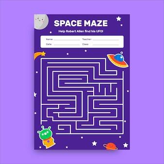 Kreatives arbeitsblatt der kindlichen raumlabyrinthgalaxie