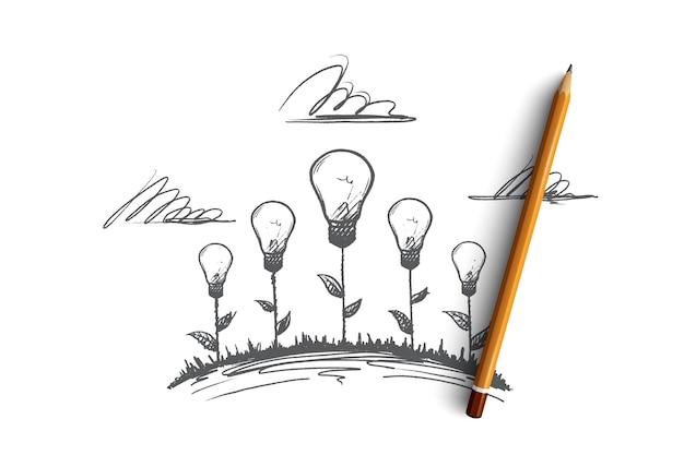 Kreatives arbeitskonzept. hand gezeichnete kreative illustrationen von blumen. die geburt einer idee. glühlampe das symbol der kreativen idee isolierte illustration.