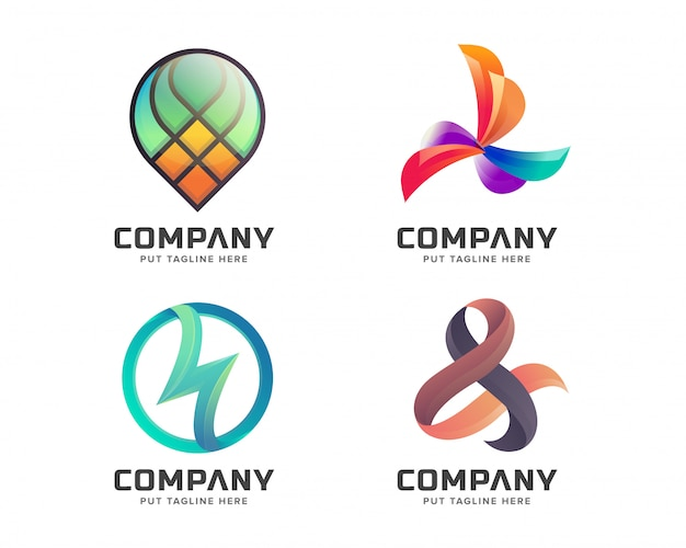 Kreatives astract logo eingestellt für geschäft