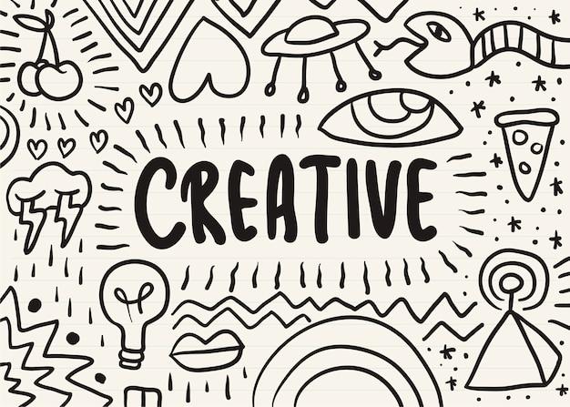 Kreatives auf einem notizblock gekritzelt