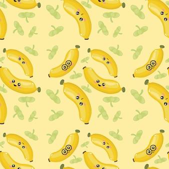 Kreatives bananen-emoticon-muster-hintergrundbild