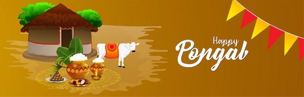 Kreatives banner für happy pongal