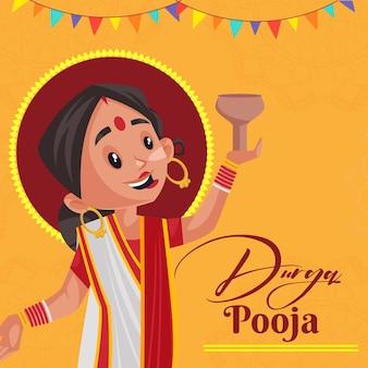 Kreatives bannerdesign des indischen festivals durga pooja