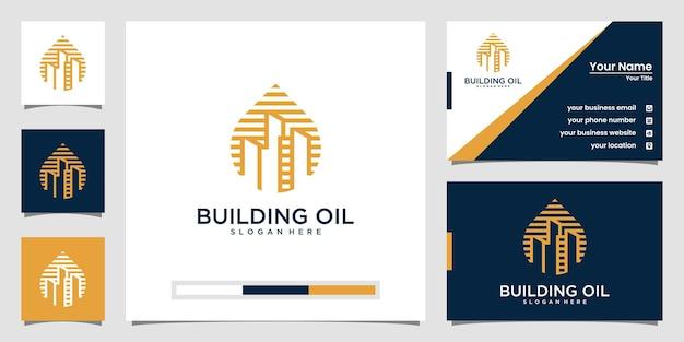 Kreatives bauöl-logo mit strichzeichnungen und visitenkarte