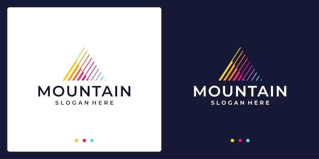 Kreatives berglogo mit linie. symbol für modernes marketing, analytisch. premium-vektor