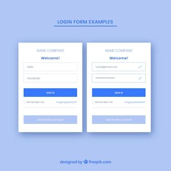 Kreatives blaues login-formular