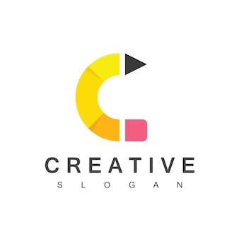 Kreatives bleistift-logo mit buchstabe c-symbol