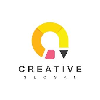 Kreatives bleistift-logo mit buchstaben-a-symbol