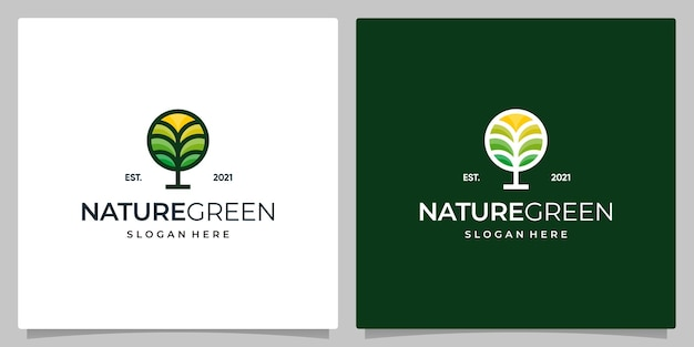Kreatives blumenbaum-logo-design mit kreisform. naturbaumblatt-logo-design in voller farbe.