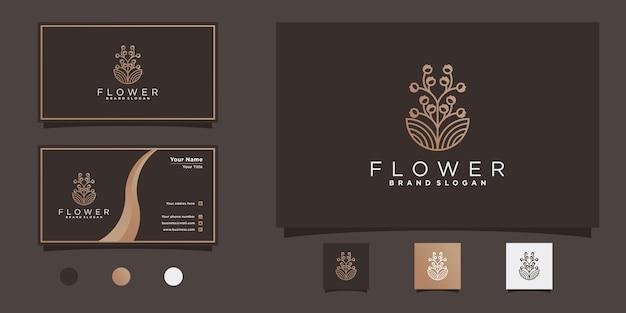 Kreatives blumenlogo-design mit einzigartiger blumenlinien-kunstform und visitenkartendesign premium vekto