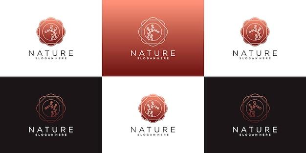 Kreatives blumenlotos-logodesign mit einzigartigem blattblumenlogodesign premium-vektor