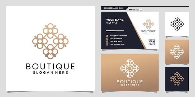 Kreatives boutique-logo mit einzigartigem konzept und visitenkartendesign premium-vektor