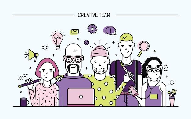 Kreatives business-team-konzept. illustration mit teamwork-befehl. junge designer, mädchen und jungs