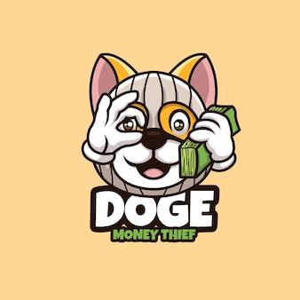 Kreatives cartoon doge maskottchen logo gelddieb charakter logo