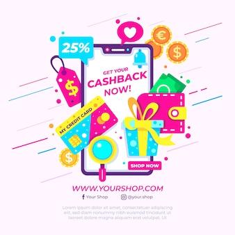 Kreatives cashback-konzept