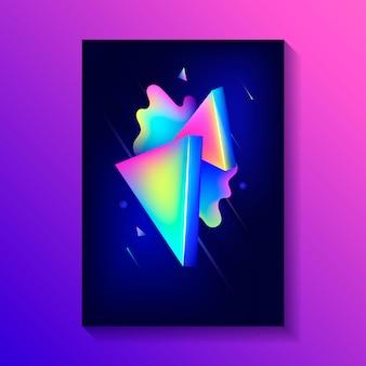 Kreatives dekoratives plakat mit zusammensetzung von dreiecken 3d und von anderen formen.