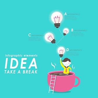 Kreatives denken flaches design mit glühbirnen und kaffee