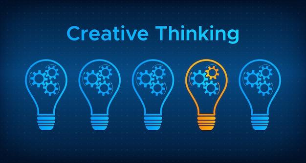 Kreatives denkkonzept der zahnradglühbirne