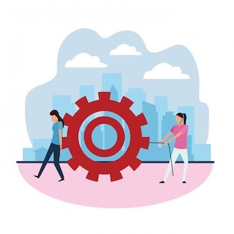 Kreatives design der teamarbeit