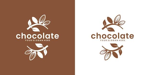 Kreatives design der vintage-logo-schokoladenfruchtpflanze