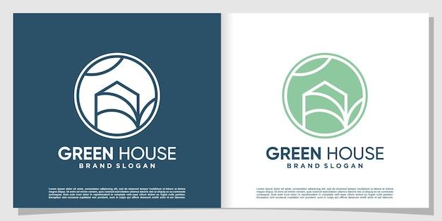 Kreatives design des grünen hauslogos premium-vektor