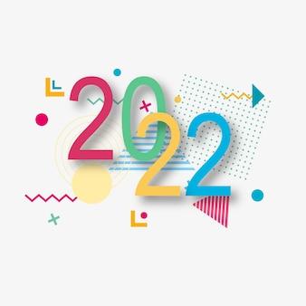 Kreatives design einer neujahrskarte von 2022 auf einem modernen hintergrund. helles poster im stil von memphis. basis aus geometrischen elementen und farbnummern. vektor-illustration.